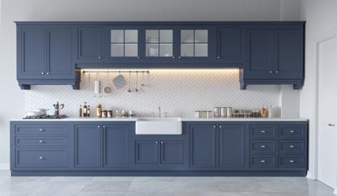 Tủ bếp được chia làm 2 tầng riêng biệt, không dính liền nhau