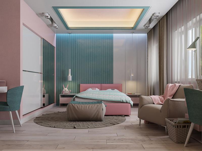 Phòng ngủ được thiết kế đơn giản nhưng hết sức ấm áp vì các đồ dùng có màu sắc sáng sủa