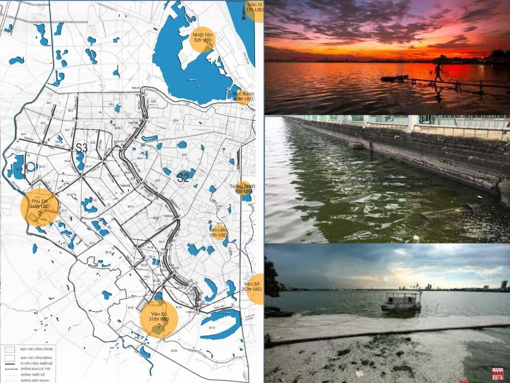 Dự án thoát nước giai đoạn 2 mở rộng phạm vi thoát nước mở rộng từ sông Tô đến sông Nhuệ - Thêm một sông nữa thành kênh thoát nước thải không qua xử lý . Mặc dù có các nhà máy XLNT , nhưng các cống nước thải đổ trực tiếp vào các hồ ( ảnh Hồ Tây )Kết quả : Hồ Tây cảnh quan đẹp nhất Hà Nội nay là hồ chứa nước thải , nước ô nhiễm làm 200 tấn cá chết (2016)và cá tiếp tục chết những năm sau.