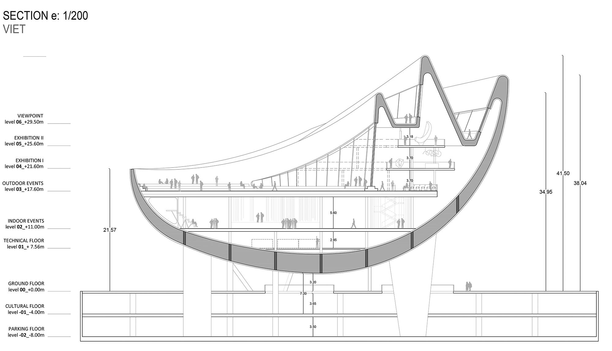 Mô phỏng phần kết cấu lớn giống như lớp vỏ công trình và tạo ra không gian tự nhiên phía dưới