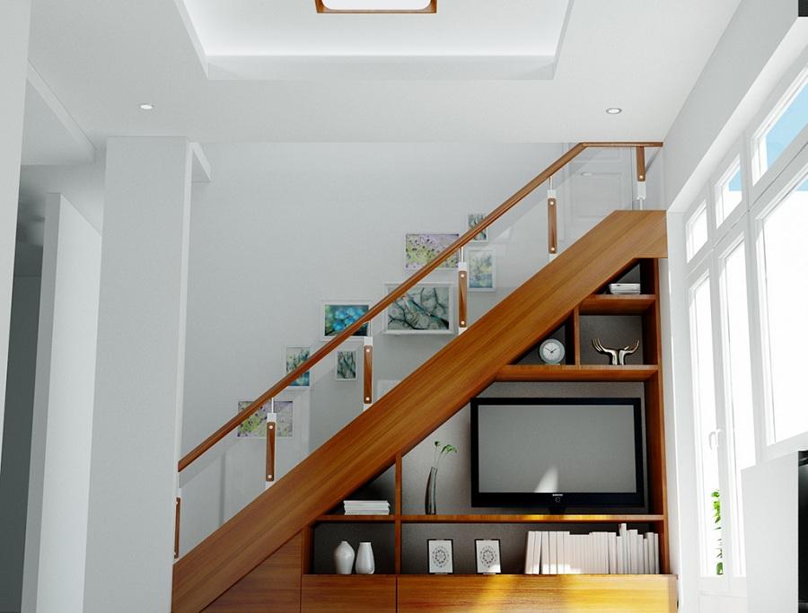 Bố trí cầu thang kết hợp cùng với công năng sử dụng khác, như: Kệ để ti vi, giá sách, tủ đựng quần áo