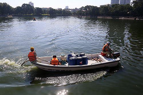 Làm sạch nước hồ tại Hà Nội