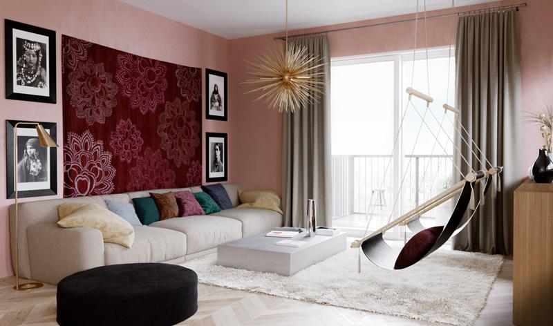 Bức thảm màu hồng có hoa trắng đã tô điểm và làm cho cả căn phòng sáng sủa hơn