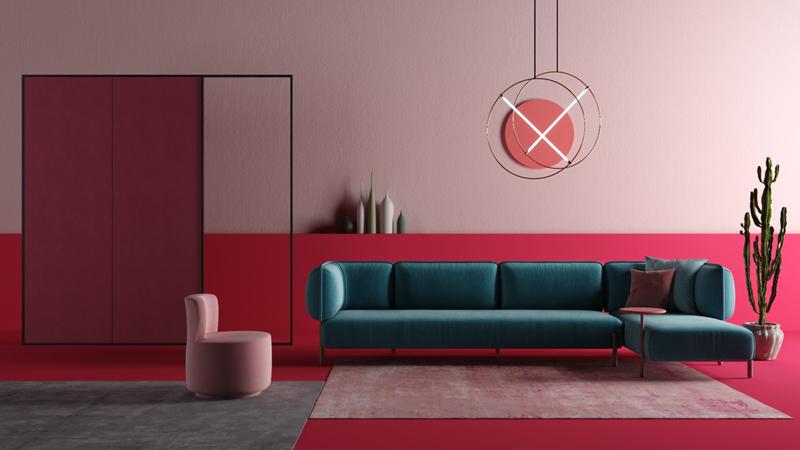 Phòng khách được bày biện đơn gian khi có bộ ghế sofa màu xanh được pha trộn trong không gian có những gam màu sáng