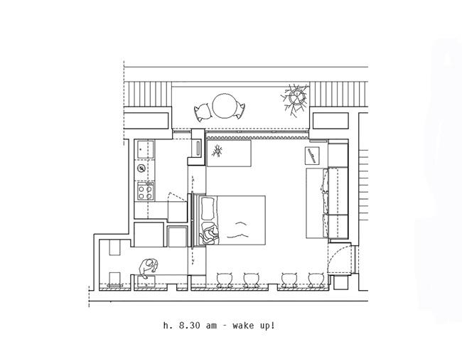 Bản vẽ thiết kế khi các nội thất bị giấu được mở ra như giường, ghế ngồi