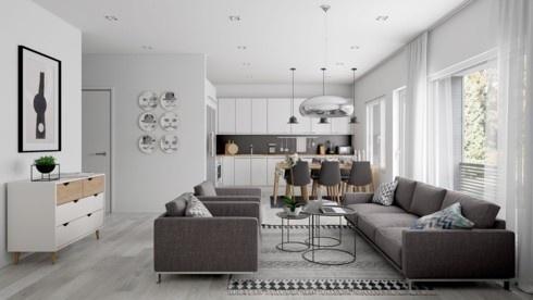 Căn hộ màu xám trổ nhiều cửa sổ để cung cấp ánh sáng cho cả phòng khách lẫn nhà bếp