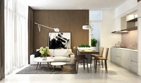 Cách bố trí theo thứ tự bếp, bàn ăn, và bàn ghế sofa từ cao tới thấp cho thấy sự tỉ mỉ của chủ nhân trong việc trang trí tổ ấm