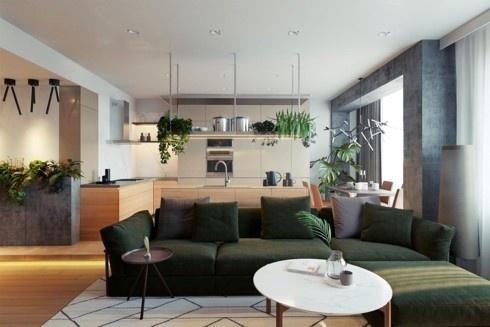 Chọn màu sắc khác nhau cho nội thất cũng là cách phân chia không gian mà không cần sử dụng tường ngăn