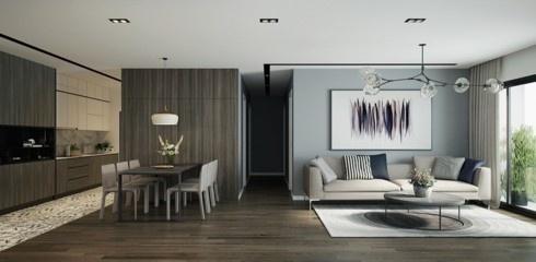 Không chỉ với những căn hô khiêm tốn về diện tích, ngay cả những căn hộ sang trọng nhiều chủ nhân cũng yêu thích lựa chọn cách bố trí bếp liền kề phòng khách để thuận tiện trong việc tiếp đãi khách khứa và bạn bè