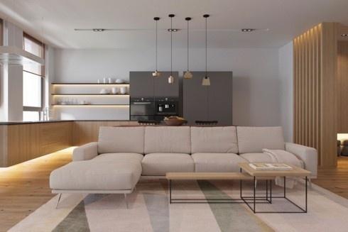 Tủ bếp lắp đặt cách sàn một khoảng nhất định, cung cấp một không gian tuyệt vời để ánh sáng lan tỏa