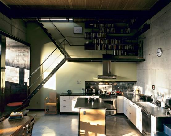 Đối với những ngôi nhà có diện tích nhỏ, nên đặt cầu thang ở phía cuối nhà để mở rộng không gian