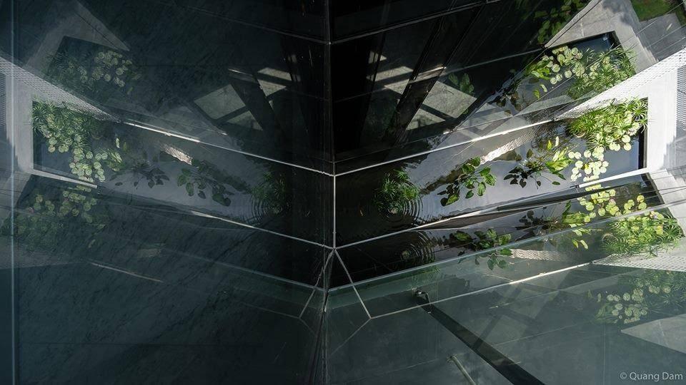 Một góc hồ nước được chụp từ tầng cao của công trình. Ánh sáng và mặt kính tạo sự kỳ bí như ta đang thám hiểm một hang động nào đó.