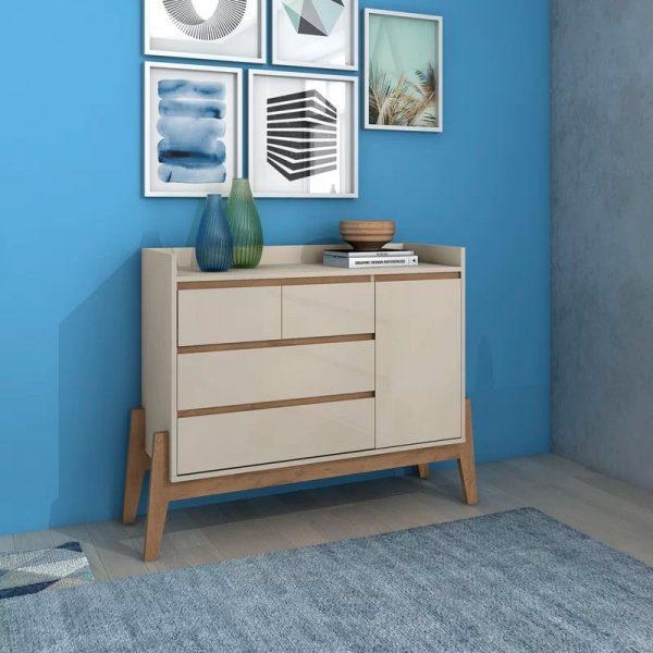 Nằm trên một giá đỡ độc đáo, tủ quần áo 4 ngăn kéo sở hữu được cả yếu tố thẩm mỹ lẫn chức năng