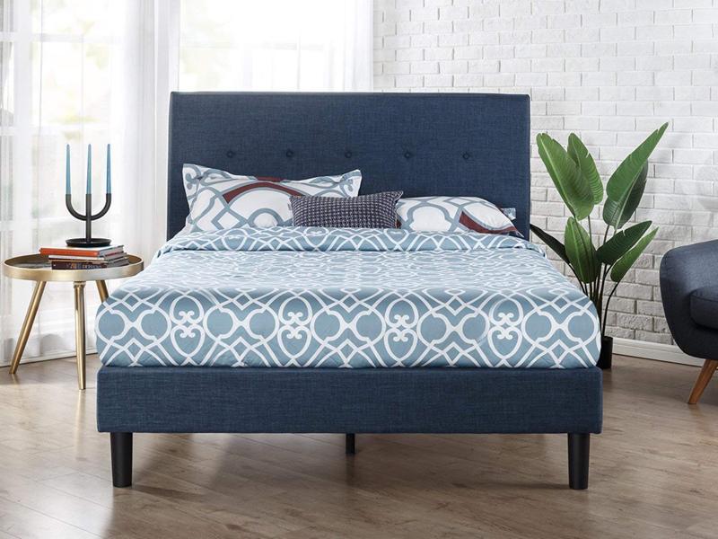 Giường ngủ hiện đại, bọc nệm màu xanh navy