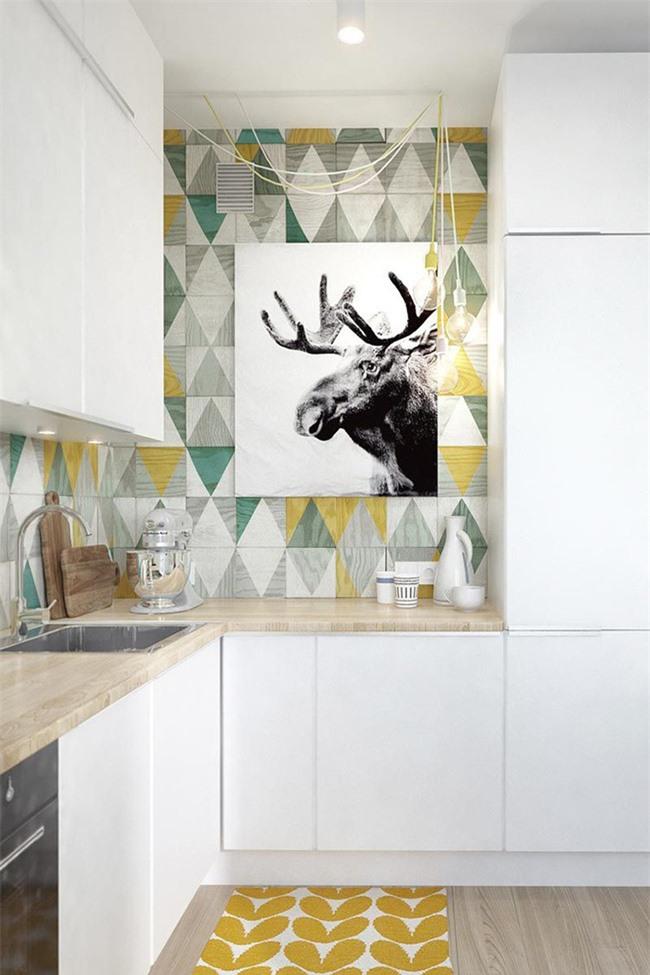Hoặc bạn có thể lựa chọn sử dụng họa tiết trang trí để không gian căn bếp thật sống động