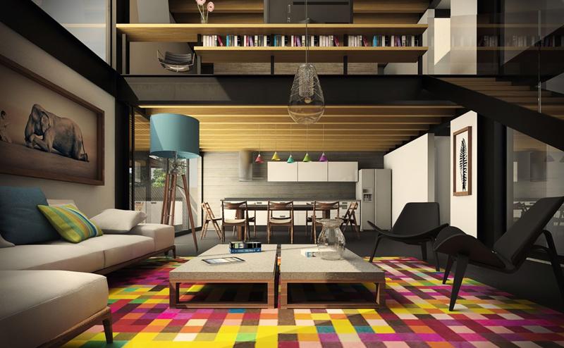 Căn phòng trở nên độc đáo hơn khi có những chiếc ghế dựa lưng và tấm thảm trải sàn nhà sặc sỡ màu sắc