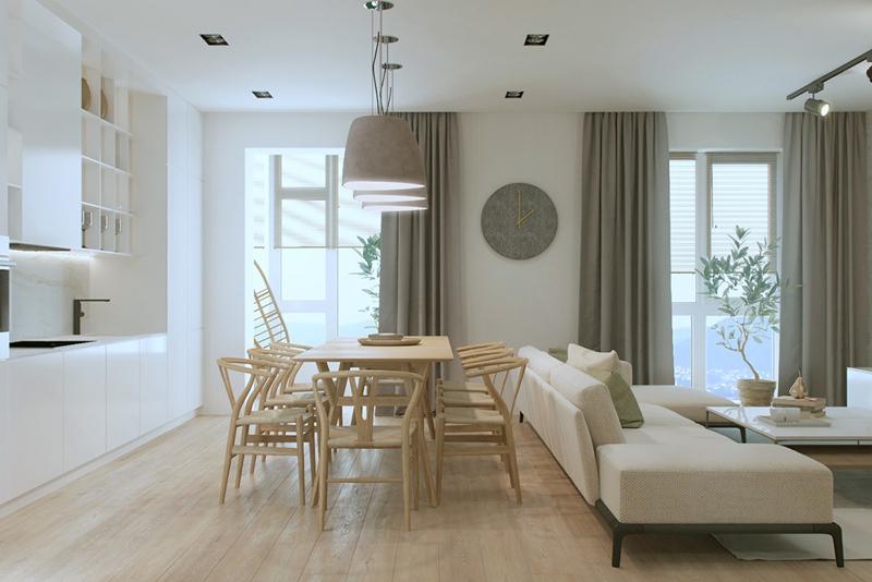 Những chiếc đèn, rèm cửa và chiếc đồng hồ cùng tông màu ghi góp phần làm nổi bật hơn cho căn nhà nhỏ