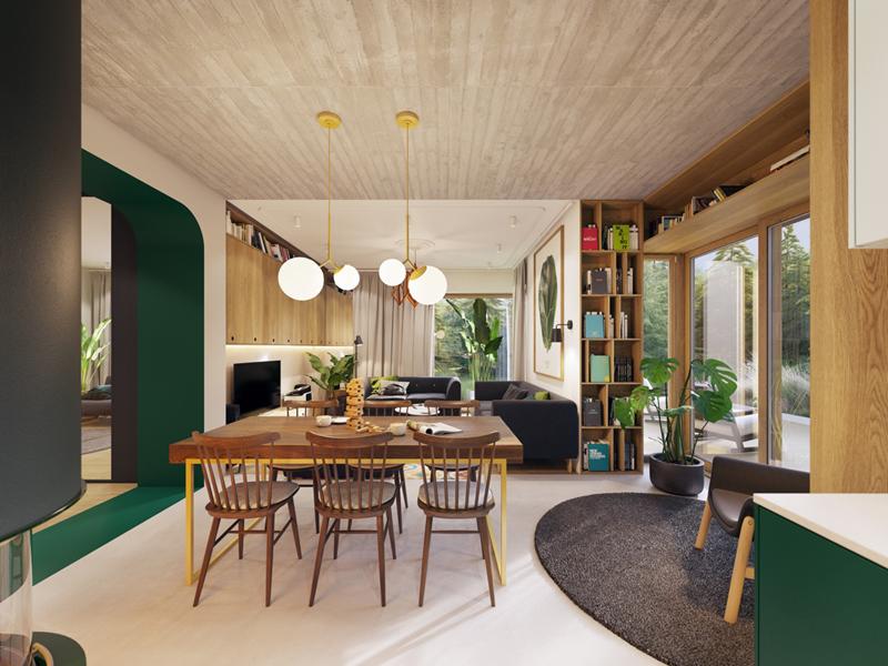 Căn hộ thông suốt, kéo dài từ chỗ kê bộ bàn ăn đến khu vực tiếp khách là bộ bàn ghế sofa. Bằng cách phối màu tối và sáng cho những đồ dùng, cả căn hộ vẫn rất gọn gàng mà lại mang phong cách lịch lãm