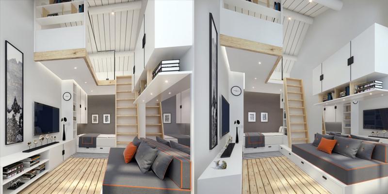 Cách bố trí tivi và bức tranh đối diện bộ ghế sofa sẽ rất tiện lợi cho gia chủ đón tiếp khách và tiết kiệm diện tích khi căn nhà còn chật hẹp