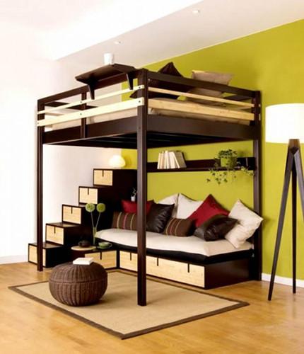 Mẫu giường gác xép với phía trên là nơi ngủ nghỉ, phía dưới là ghế ngồi và không gian lưu trữ. Ảnh: Mauthietkenoithat.