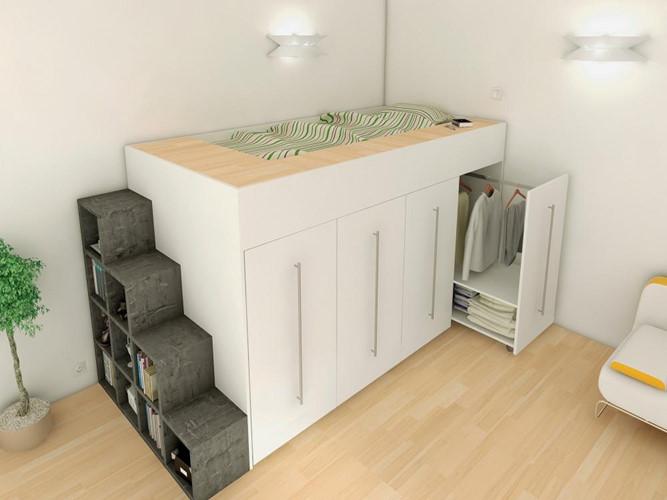 Giường ngủ được thiết kế lõm sâu đảm bảo an toàn cho người dùng. Trong khi đó, phía dưới và bậc thang tận dụng làm nơi lưu trữ đồ tiện dụng. Ảnh: Mauthietkenoithat.