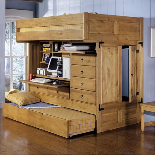 Mẫu giường gác xép tích hợp cả không gian lưu trữ và góc làm việc không thể gọn gàng hơn. Ảnh: Homedit.