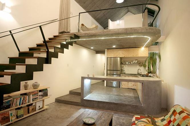 Cầu thang đơn giản với gác lửng