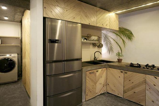 Tủ lạnh gắn vào tường đảm bảo cho căn bếp luôn gọn gàng