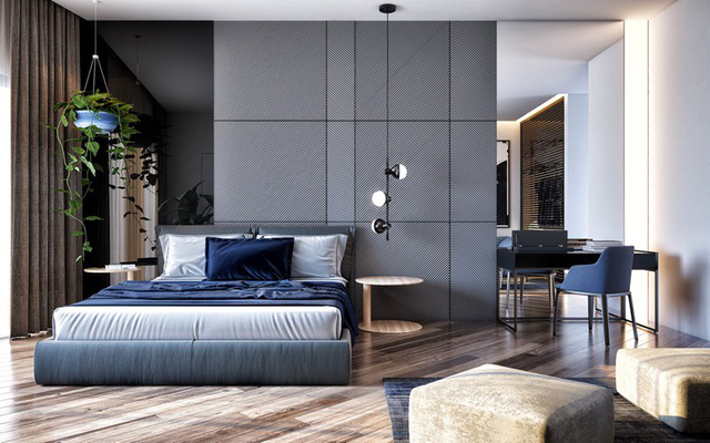 Màu xanh dương của nội thất cùng cây dây leo mang lại cho bạn một giấc ngủ yên bình