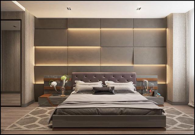 Tạo một bức tranh đầu giường tuyệt đẹp bằng cách sử dụng đèn và kệ