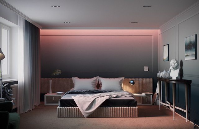 Chiếc giường thấp phù hợp với bầu không khí yên tĩnh trong phòng