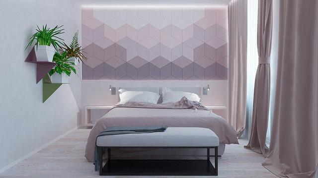 Ý tưởng trang trí tranh hình học ở đầu giường