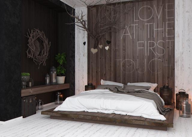 Tạo một phòng ngủ mộc mạc, hiện đại bằng cách kết hợp một bức tường bằng gỗ với khung gương hình nhánh cây