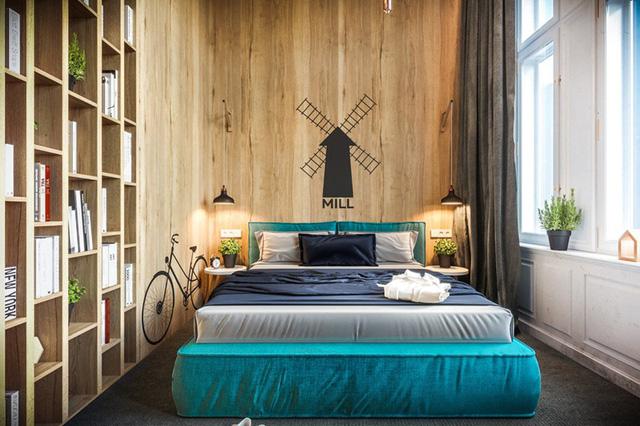 Giường ngủ màu xanh phá vỡ sự nhàm chán cho phòng ngủ trẻ em