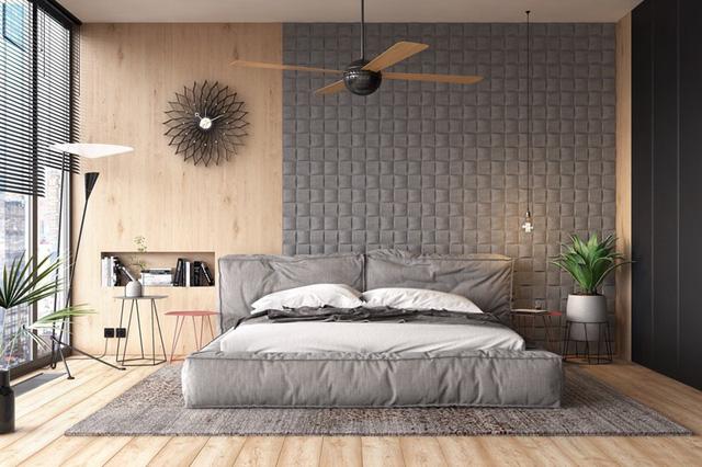 uạt trần, đồng hồ, cùng bức tường đầu giường là bộ ba tác phẩm đắt giá cho phòng ngủ