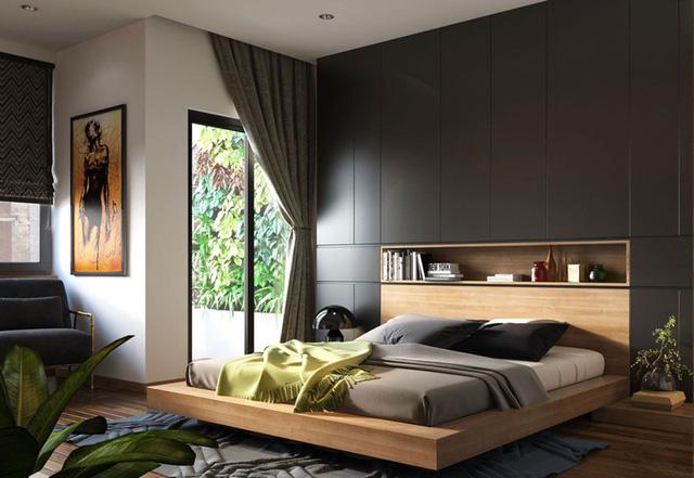Hốc lưu trữ đầu giường là lựa chọn tuyệt vời nếu không gian bị giới hạn cho bàn cạnh giường ngủ