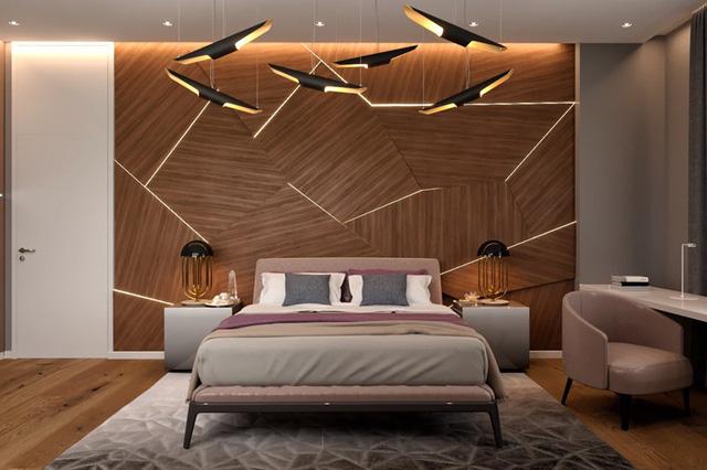 """Ánh sáng và gỗ kết hợp tạo thành tác phẩm nghệ thuật """"đắt giá"""" cho phòng ngủ"""
