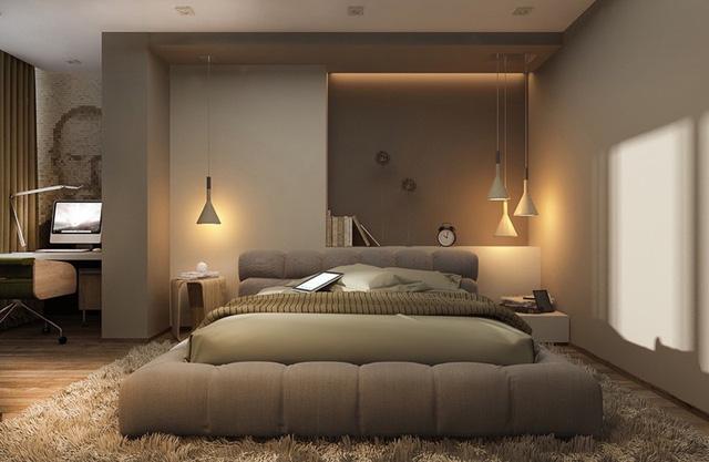 Đèn mặt dây chuyền bố trí không đối xứng giúp căn phòng thêm đặc biệt