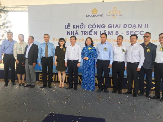 Chủ tịch UBND TP HCM Nguyễn Thành Phong dự lễ khởi công SECC giai đoạn 2 Nhà triển lãm B. Ảnh: Linh Anh