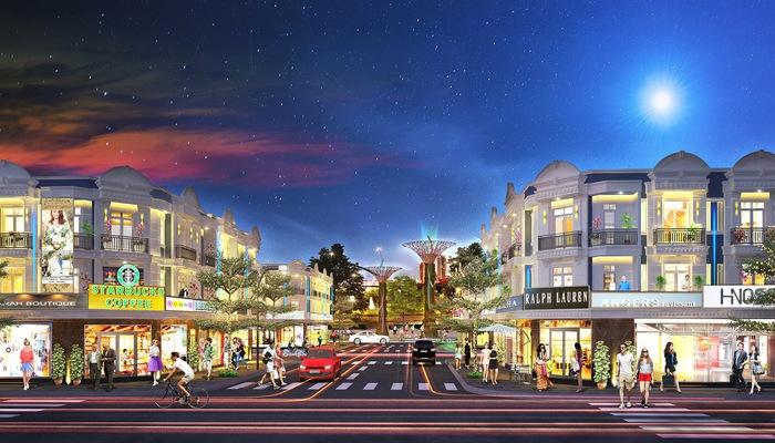 Phối cảnh dự án Uni Mall Center với những dãy shophouse sang trọng, đẳng cấp