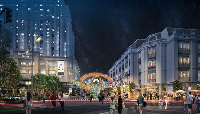 Phố đêm nằm trên đường Hoa Châu sầm uất, ngay trục chính của khu đô thị Eurowindow Garden City