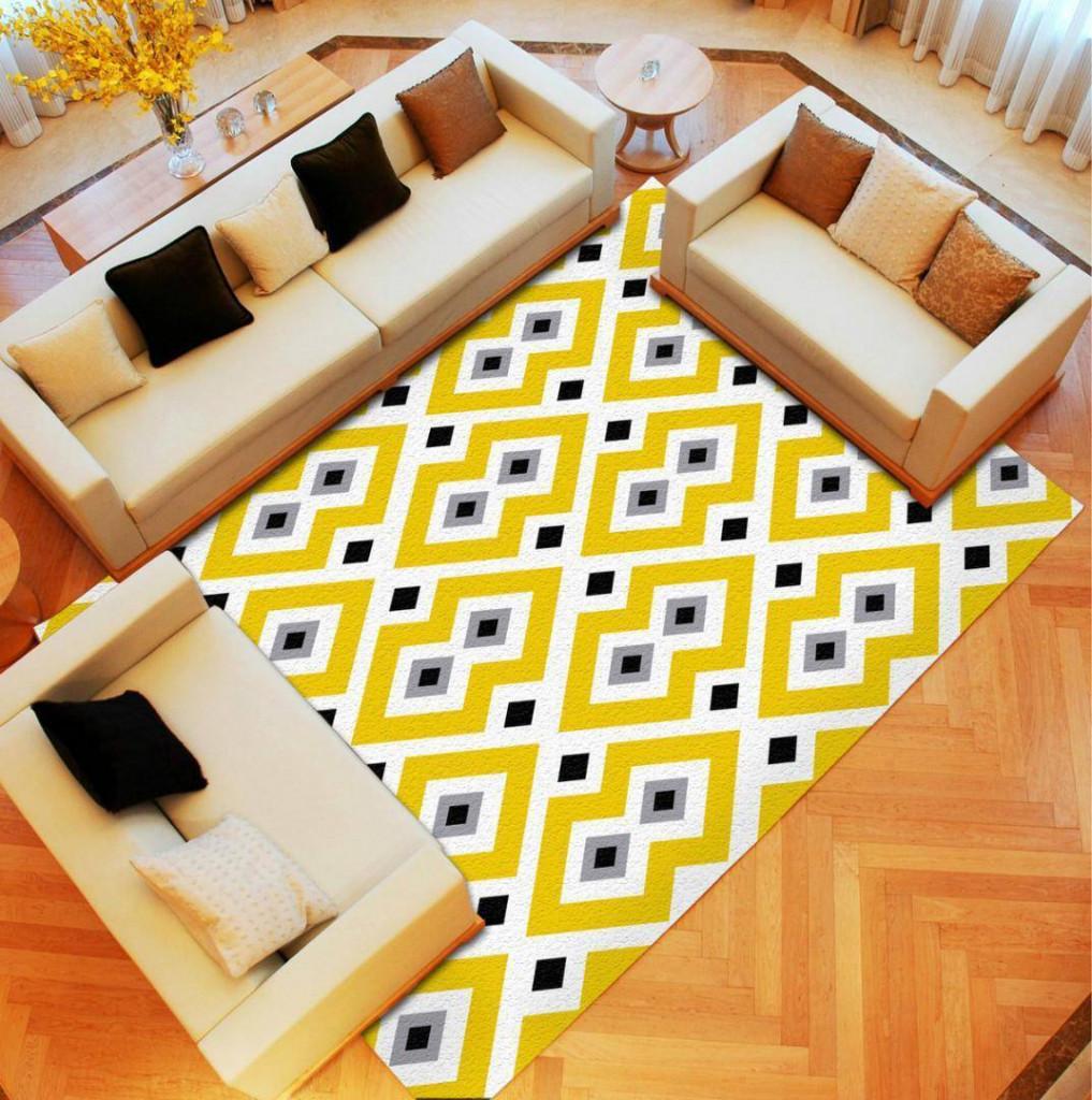 Một tấm thảm sặc sỡ tông xuyệt tông với những món nội thất khác là điểm nhấn đặc biệt cho căn phòng khách nhàm chán