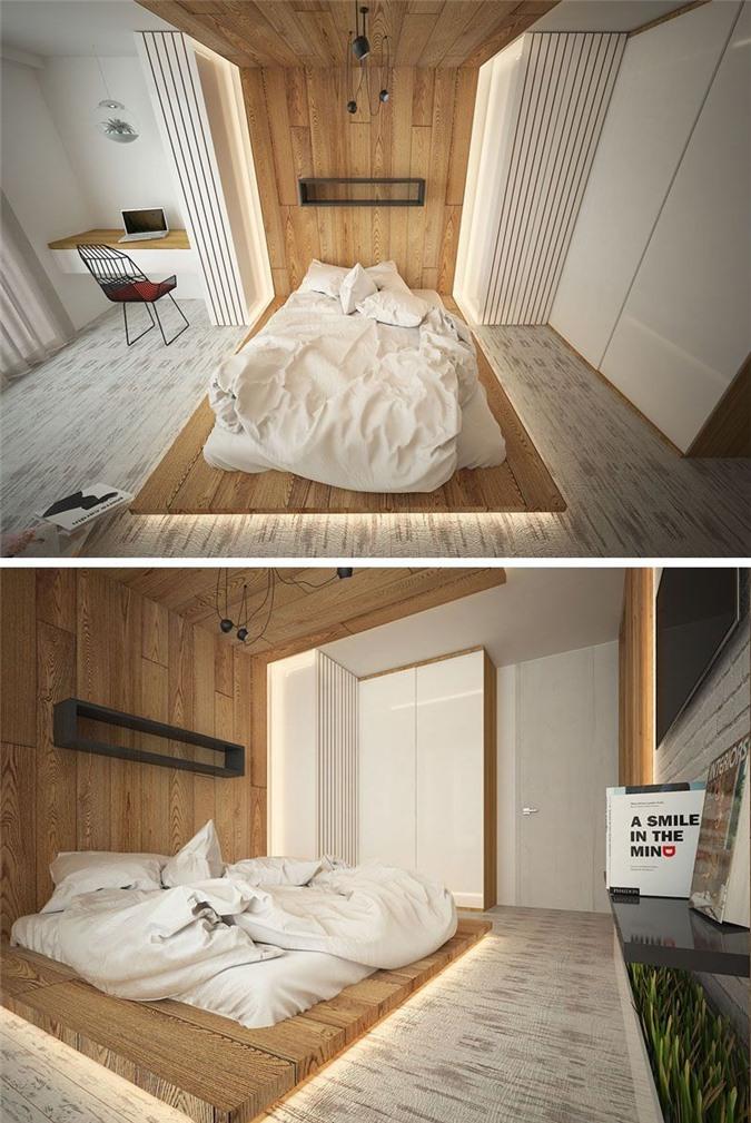 Có rất nhiều cách khác nhau để bạn lắp đặt đèn led cho bộ giường đơn giản của mình. Đặt đèn led bao quanh giường như thế này là một gợi ý hay mà bạn có thể tham khảo