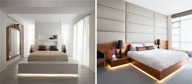 Đèn led được đặt dưới gầm giường vừa không gây chói mắt vừa cung cấp lượng ánh sáng đủ làm đèn ngủ