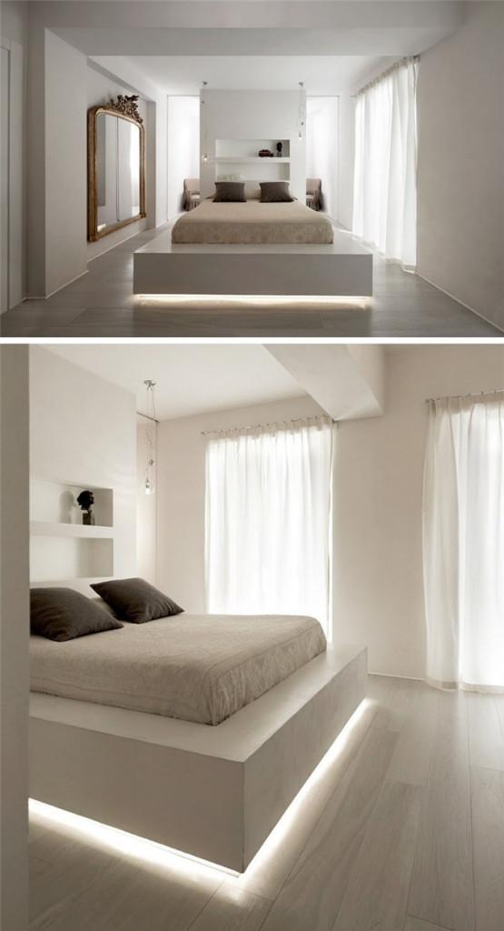 Chẳng cần tốn nhiều công sức, chỉ cần lắp thêm hệ thống đèn led bên dưới gầm giường thôi cũng đã đủ để bạn biết được đâu là tâm điểm của căn phòng