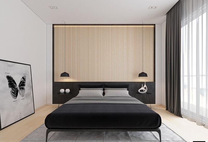Phòng ngủ khác sử dụng tất cả các vật liệu giống như phòng đầu tiên, nhưng lần này với một cách tiếp cận thậm chí còn tối giản hơn