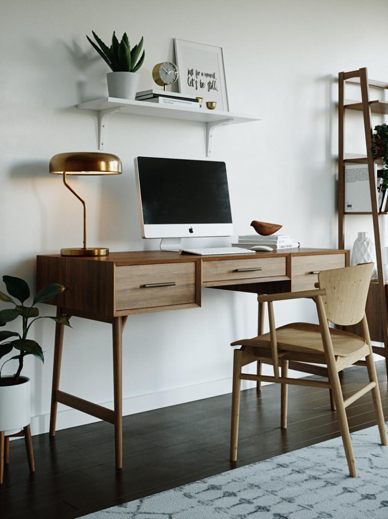 Phòng làm việc hiện đại pha lẫn đôi nét truyền thống.