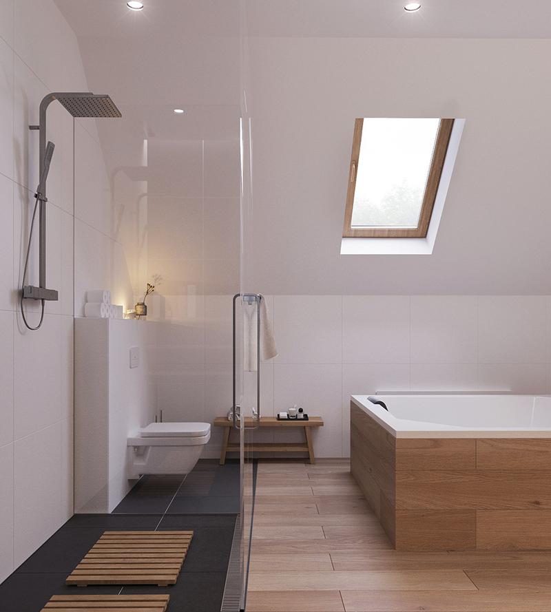 Cửa kính sát trần cung cấp ánh sáng cho phòng tắm
