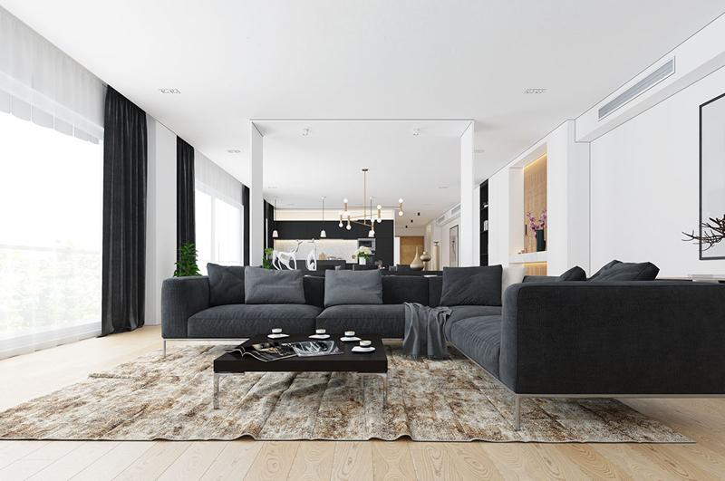 Không có quá nhiều chi tiết trang trí, chỉ cần một chiếc ghế sofa cùng bàn trà là đủ để có một phòng tiếp khách sang trọng
