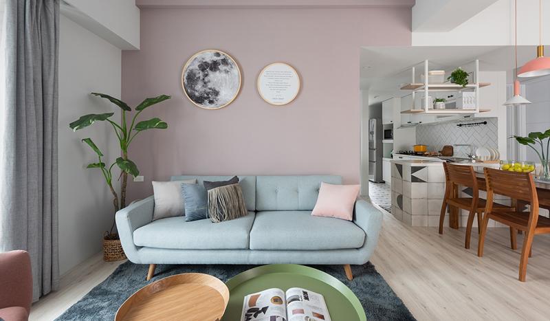 Phòng khách là nơi tập trung nhiều mảng màu của nội thất nhất nhưng vẫn có sự tinh tế và nhẹ nhàng